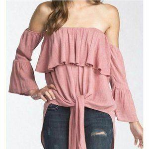 Cherish Off Shoulder Mauve Pink Bell Summer Top
